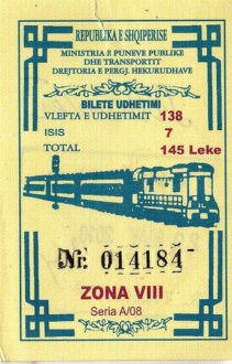Albanian railway train ticket