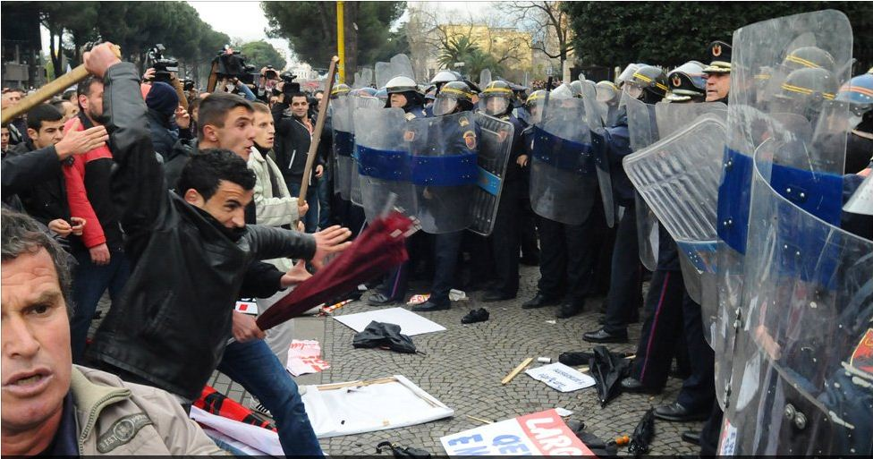 Violent anti-government protest in Tirana